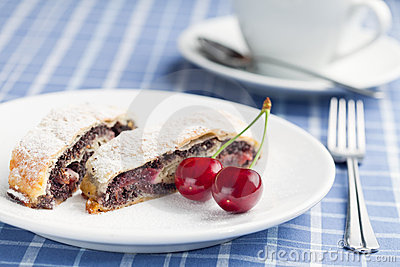 Poppy seed strudel with cherry.