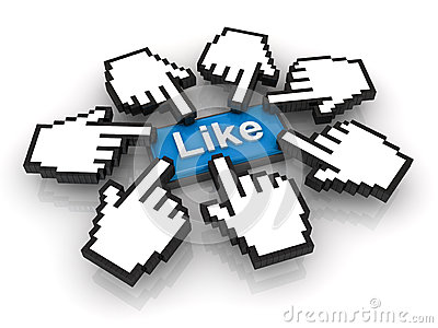 Popular concept, clicking like button