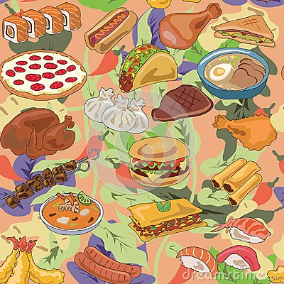 Free Popular Food Of Different Countries Pattern Royalty Free Stock Photos - 102299838