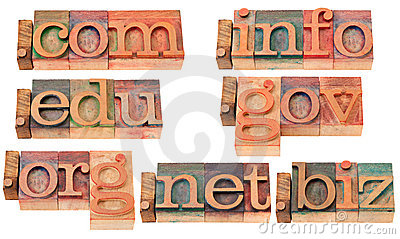 Popular internet domains in wood fonts