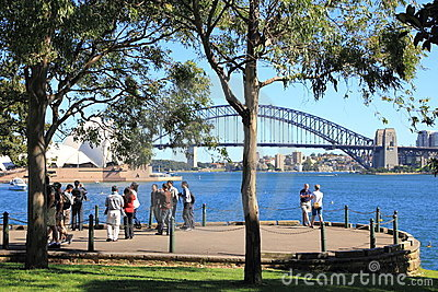 Sydney harbor scenic outpost with people Editorial Photo