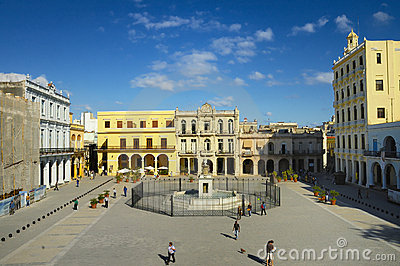 Popular Plaza Vieja in Old Havana, Cuba. Editorial Stock Image