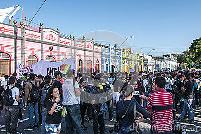 Popular protest on the day of the Independence of  Editorial Stock Photo