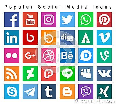 Popular social media icons Vector Illustration