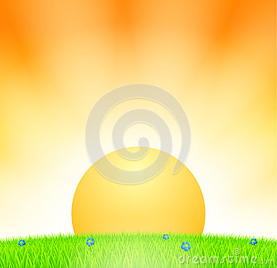 Por do sol acima do prado
