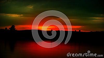 Por do sol do lago Timelapse filme