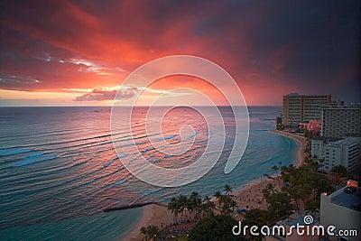 Por do sol do recurso de Waikiki