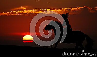 Por do sol e cavaleiro (silhueta)