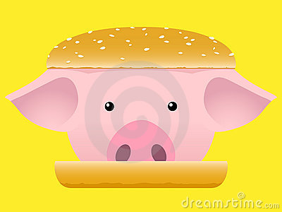 Porc head hamburger