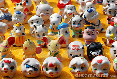 Porcelain cartoon figurines