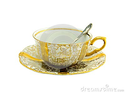 Porcelain cup on a white background