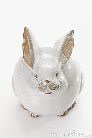 Free Porcelain Easter Bunny On White Background Royalty Free Stock Images - 50499899