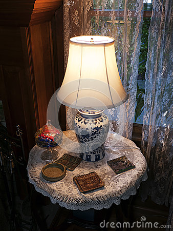 Porcelain Lamp on round table