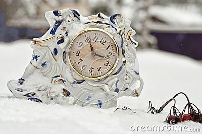 A porcelain table clock