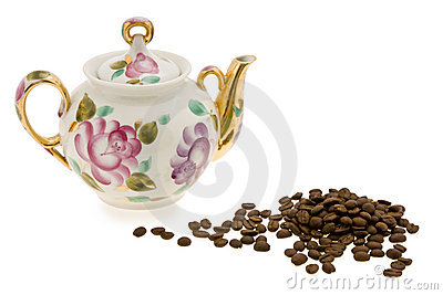 Porcelain,  teapot with colours and coffee grain