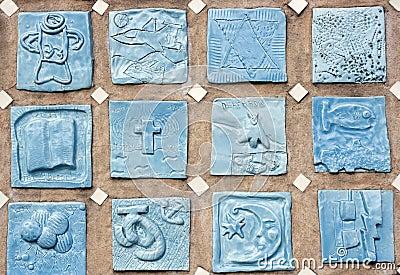Porcelain tile symbol art