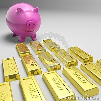 Porcellino salvadanaio che esamina le barre di oro che mostrano le riserve auree