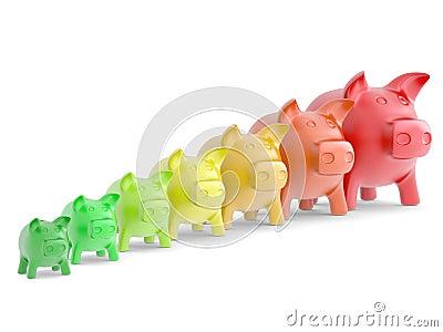 Porcellino salvadanaio Colourful in una fila