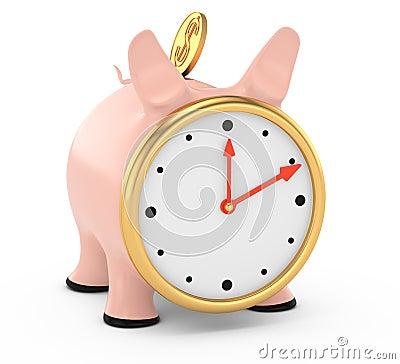 Porcellino salvadanaio con il fronte di orologio