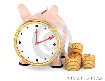 Porcellino salvadanaio con il fronte di orologio e la pila di monete di oro