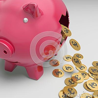 Porcellino salvadanaio rotto che mostra stato finanziario britannico