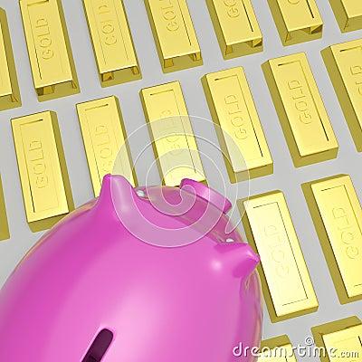 Porcellino salvadanaio su ricchezza di manifestazioni delle barre di oro