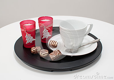 Porción de la taza del té o de café para la Navidad