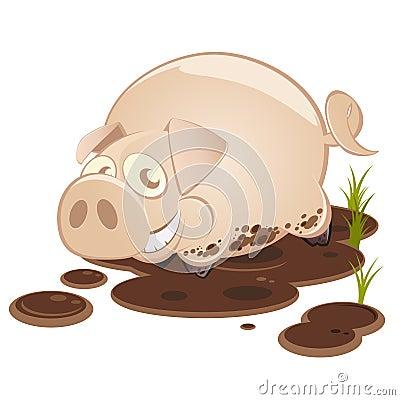 Porco dos desenhos animados no sorriso da lama