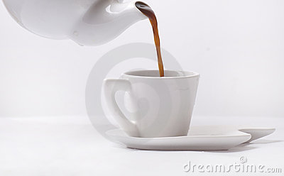 Poring coffee in a cup