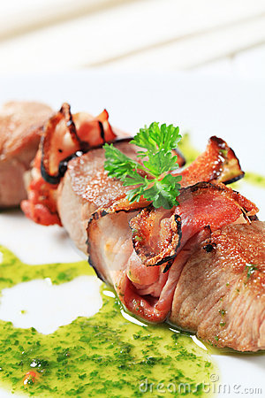Pork and bacon skewer