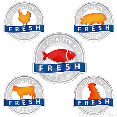 Free Pork Beef Chicken And Fish Quality Meat Sign Stock Photos - 20681533