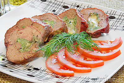 Pork with cheese, tomatoes
