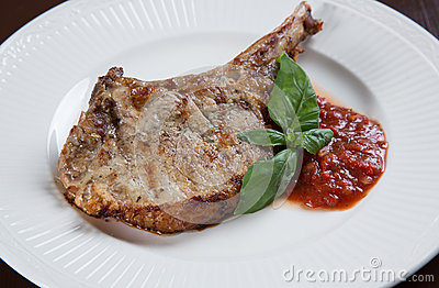 Pork chops with BBQ sauce