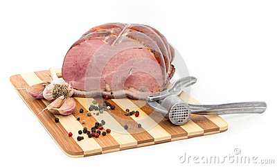 Pork on a cutting board.
