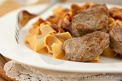 Pork fillet with pasta