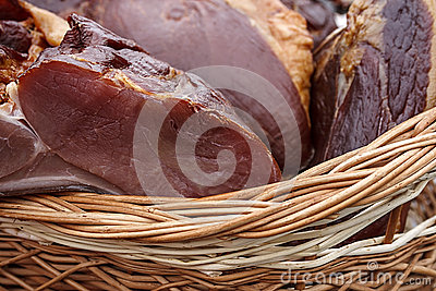 Pork ham placed in a wicker basket