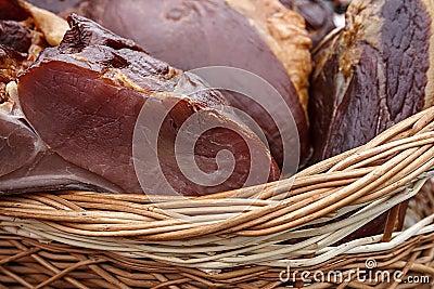 Pork ham placed in a wicker basket