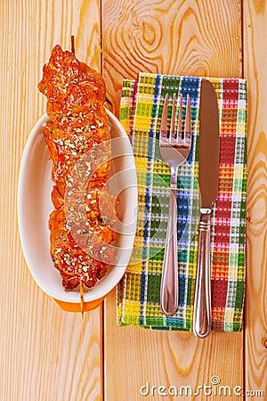 Pork kebab on plate