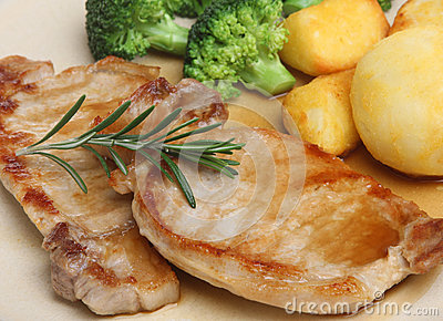 Pork Loin Meat Steaks with Vegetables