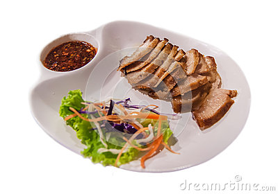 Pork Neck Grill Thai Style Food Isolated Stock Photo - Image: 63192448