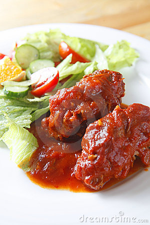 Pork rib with salad