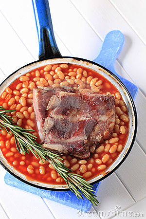 Pork ribs and baked beans