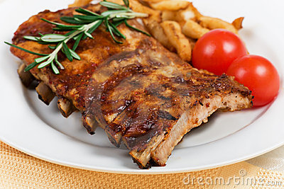 Pork ribs and vegetables