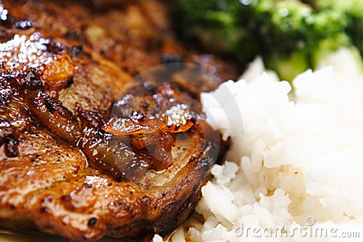 Pork Steak with Salad and Rice