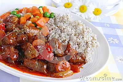 Pork stew with pearl barley
