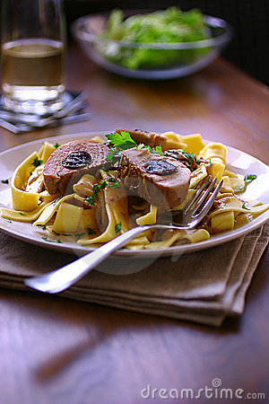 Free Pork Stuffed With Plums In Cream Sauce Royalty Free Stock Photos - 7560298