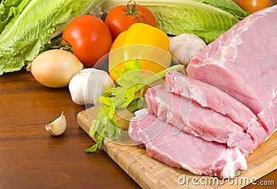 Pork tenderloin prepared for cooking
