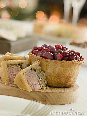 Free Pork Turkey And Stuffing Pie Cranberry Pie Stock Photos - 5605373