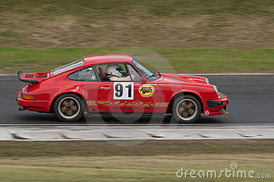 Porsche 911 Carrera racing car at speed Editorial Photography