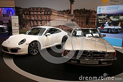Porsche 911 carrera s and mercedes benz oldtimer Editorial Photo